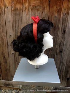 Snow White Fingerwave Inspired Wig With Headband Bow Screen Quality Custom Couture Styled Costume Wigs, Costume Shop, Cosplay Wigs, Disney Cosplay, Disney Costumes, Halloween Costumes, Quality Wigs, Hair Quality, Disney Fancy Dress