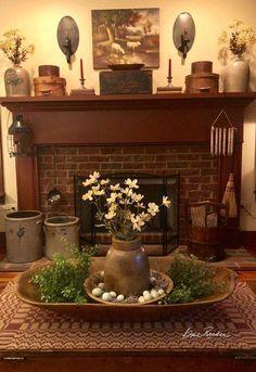 Primitive homes, fireplace mantels, primitive mantels, simple fireplace, pr Primitive Homes, Primitive Fireplace, Primitive Living Room, Primitive Furniture, Primitive Kitchen, Primitive Mantels, Primitive Bathrooms, Rustic Furniture, Prim Decor