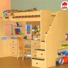 Love the idea for a kids room... storage in the stairs, a table at the bed... its all just great!