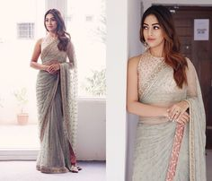 3 Tips To Make Your Net Saree Look Less Transparent Net Saree Blouse, Sari Dress, Saree Blouse Patterns, Saree Blouse Designs, Netted Blouse Designs, Net Saree Designs, Saree Designs Party Wear, Party Wear Sarees, Dress Indian Style