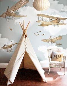 Tapet cu avioane pentru camera copilului