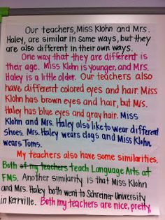 This is an example of paragraph writing that is color coded to show comparing and contrasting characters.