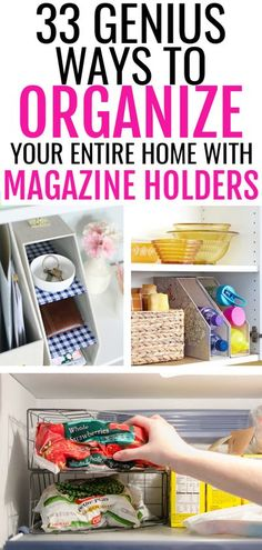 Magazine holders are an affordable way to organize everything from wash cloths to frozen peas. Check out this article for tons of affordable ways you can organize your home using magazine holders from the dollar store! Freezer Organization, I Heart Organizing, Organisation Hacks, Entryway Organization, Purse Organization, Organizing Your Home, Organizing Ideas, Kitchen Wrap, Magazine Holders