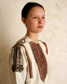 Chuvash girl from Volga river region wears traditional costume of young village girl dated by 18th