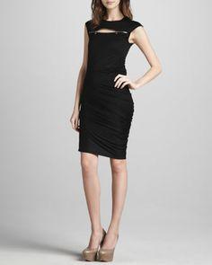 Zip-Yoke Ruched Dress, Black by McQ Alexander McQueen at Neiman Marcus.