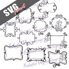 SVG EPS JPG File Bundle-Swirl Frames Clip Art Cutting Files Silhouette Cricut Scrapbooking