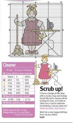 0 point de croix femme au repassage avec un balai - cross stitch woman with a broom ironing