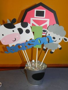 Farm Birthday Party Centerpiece by JLMpartyshop on Etsy, $24.00