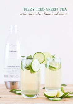 Make your own Fizzy Iced Green Tea  infused with cucumber, lime and mint!