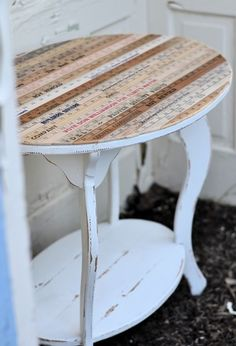 upcycle chair/table with yard sticks