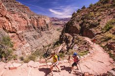 Hikers in Grand Canyon National Park. Rim to rim