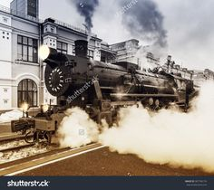 Departure Of The Retro Steam Train At Spring Evening Time. Stock Foto 387796174 : Shutterstock