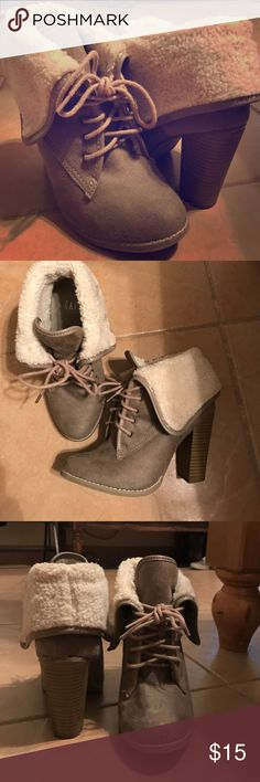 Heeled boots Gap brand faux fur lined heeled boots in taupe and creme. Only worn a handful of times. GAP Shoes Heeled Boots