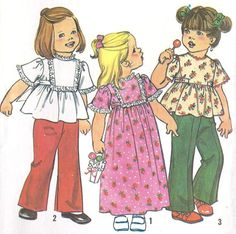 1970s Toddlers Girls  Dress or Top and Pants Vintage Sewing Pattern Simplicity 7196.  NO LONGER EXISTS.