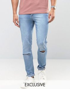 Cheap Monday Jeans Tight Skinny Fit Stonewash Blue Ripped Knee - Blue