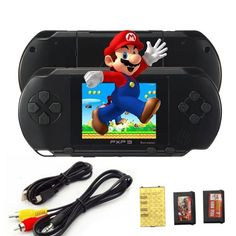 PXP3 Game Players Console 16 Bit 2.7 Inch Portable Handheld Video Game Retro Megadrive 150+ Games with 2pcs Game Card