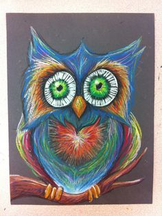 Mr. Owl with Oil Pastel on construction paper