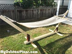 DIY Wood Hammock Stand Plans | MyOutdoorPlans | Free Woodworking Plans and…