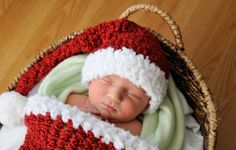Baby Santa Hat--Knit Like Crochet Newborn Baby Hat in Rich Red with White Fluffy Brim and Pom Pom. $25.00, via Etsy.