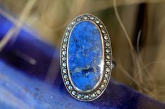 Lapis-Lazuli Marcasite Ring Sterling Silver