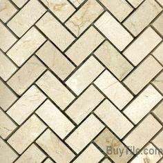 Stone Herringbone tile for powder room floor