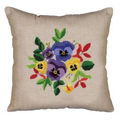 Design Works™ Pansies Punch Needle Pillow Cover Punch Needle $15.99
