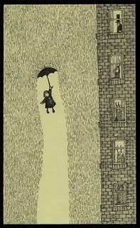 She fell up! And the rain fell down. I love this illustration by Don Kenn. So charming. :)