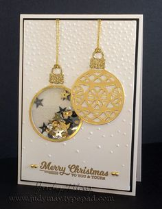 Stampin' Up! Shaker Card using 'Embellished Ornaments' & 'Delica… Stampin' Up! Shaker Card using 'Embellished Ornaments' & 'Delicate Ornaments' Thinlits. Judy May, Just Judy Designs. Homemade Christmas Cards, Christmas Cards To Make, Homemade Cards, Holiday Cards, Christmas Diy, Christmas Baubles, Christmas Card Designs, Merry Christmas, Beautiful Christmas Cards