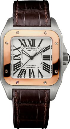 Cartier Santos Steel and Leather Medium Watch Dream Watches, Luxury Watches, Cool Watches, Watches For Men, Ladies Watches, Rolex Gmt Master, Cartier Santos 100, Cartier Panthere, Discount Watches