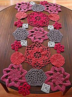 Crochet Shapes Table Runner  This is a great idea to make color/ holiday themed table runners with an updated retro feel.
