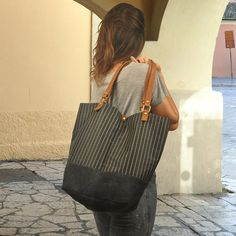 Striped tote,Shopping bag, shoulder bag made in fabric- leather,  named Natalie,made to order on Etsy, $86.00