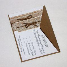 Handmade Rustic Lace and Burlap Wedding Invitation Suite. $275.00, via Etsy.
