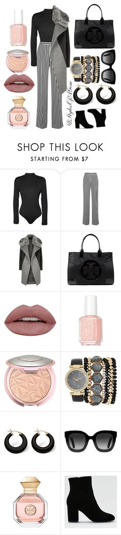 """""""Business Meeting: Stripe Galore"""" by stylesofagem ❤ liked on Polyvore featuring WearAll, Victoria, Victoria Beckham, River Island, Tory Burch, Essie, Jessica Carlyle, Palm Beach Jewelry, Gucci and American Eagle Outfitters"""