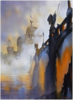 Fog on the Tiber - Rome  30x22 inches 2014 by Thomas Wells Schaller