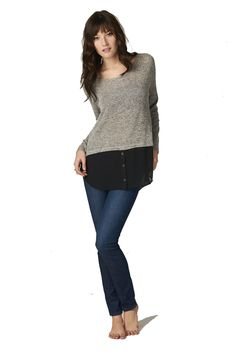 Crew Neck Sweater with Attached Blouse