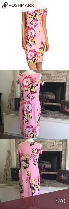 "Tahari floral cold shoulder sheath dress 19"" from armpit to armpit, 39"" from shoulder to bottom, fully lined, polyester/elastase, dry clean Tahari Dresses Midi"