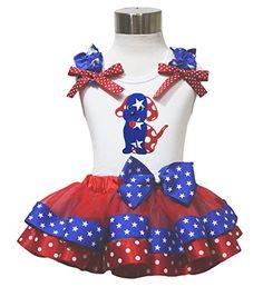 4th July Dog Puppy White Top Patriotic Star Dot Satin Trim Girl Skirt Set Nb-8y