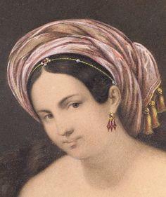 Miniature Femme au turban de Rudolph Lange 1839