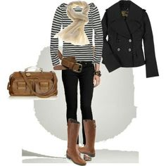 Black peacoat, black striped top, black skinny jeans, brown riding boots, belt & handbag, beige scarf