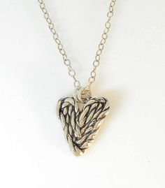 Fine Silver Twisted Heart Necklace Modern Jewelry, Sterling Silver Rings, Pendant Necklace, Chain, Diamond, Heart, Handmade, Products, Hand Made