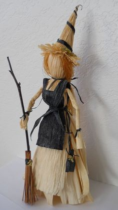 Kitchen Witch Corn Husk Doll with Broomstick and Herb Bag - Unusual