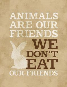 Animals are our friends WE DON'T EAT OUR FRIENDS