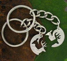 Buck and Doe Necklace Relationship Interlocking Love Quarter, hand cut coin. $39.99, via Etsy.