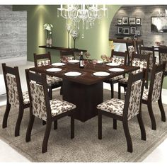 Foto 1 - Conjunto De Mesa Para Sala De Jantar Olinda Com 8 Cadeiras Jady Nogueira/brownie