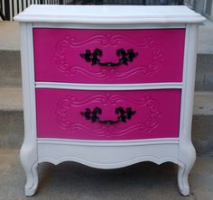 Vintage French Provincial Hello Kitty Hot Pink, White and Black Nightstand (Sold can make the same) from siennabellarose on Etsy. Saved to Things I want. Pink Furniture, Refurbished Furniture, Furniture Makeover, Painted Furniture, Hello Kitty Zimmer, Girls Bedroom, Bedroom Decor, Bedroom Ideas, Bedrooms