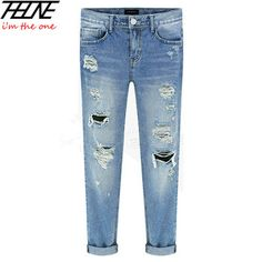 2015 New Ripped Jeans Women Denim Pants Holes High Waist Casual Trousers Pencil Pants Destroyed Torn Boyfriend Jeans for Women