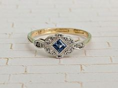 Antique Edwardian Sapphire Diamond Cluster Ring in 18k Gold &