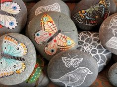 Painting rocks for the garden