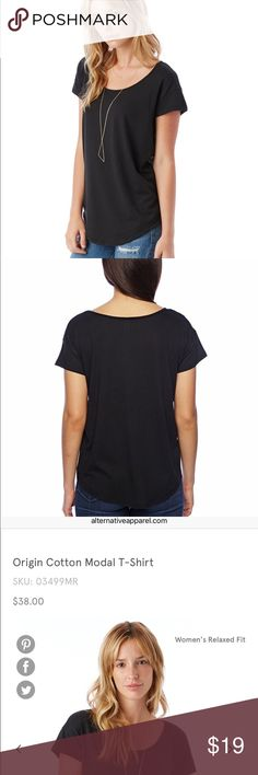 """Alternative Ladies' Origin Cotton Modal T-Shirt 30's Cotton Modal Jersey 60% Cotton, 40% Modal 4.42 oz. Piece Dyed, Garmet Washed Classic fit 1/4"""" binding detial around scoop neck Cap Sleeves Curved tail, double needle stitching on sleeves and hems Alternative Apparel Tops Tees - Short Sleeve"""