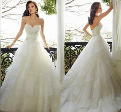 2015 Spring Wedding Dresses Collection Illusion A Line Sweetheart Sequins Bodice Natural Waist Sleeveless Lace Up Organza Chapel Train Gowns Online with $151.75/Piece on Dress_beautiful's Store | DHgate.com
